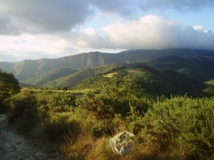 View of mountains in Galicia along Camino de Santiago