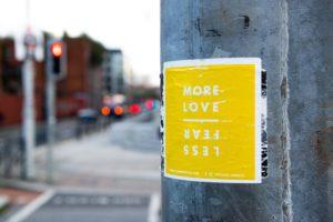 More love less fear poster in light of Coronavirus
